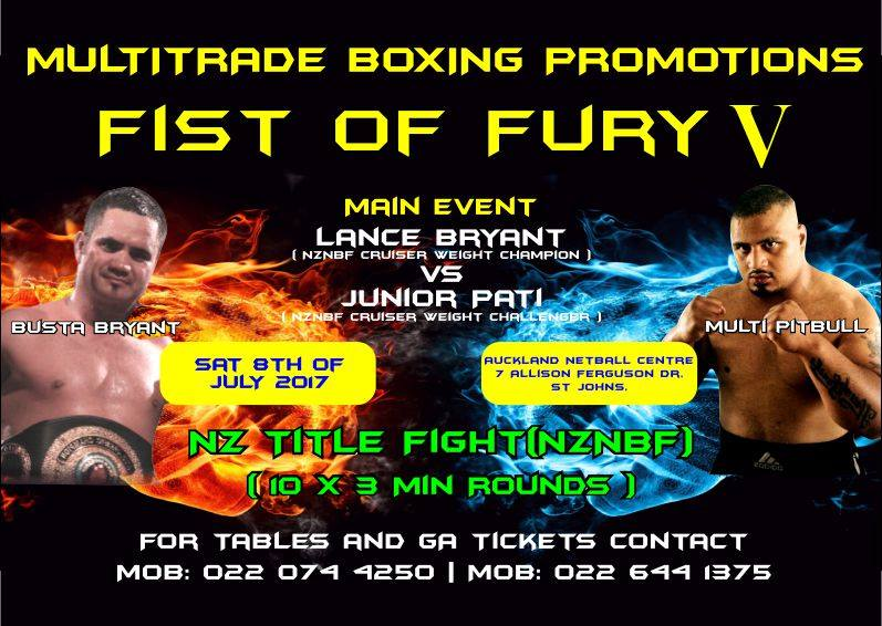 Junior Pati making his Cruiserweight debut on July 8th against Lance Bryant for Bryant's NZNBF Cruiserweight and vacant UBF Asia Pacific Cruiserweight titles.
